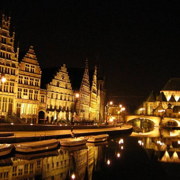 Town of Gent Belgium at Night