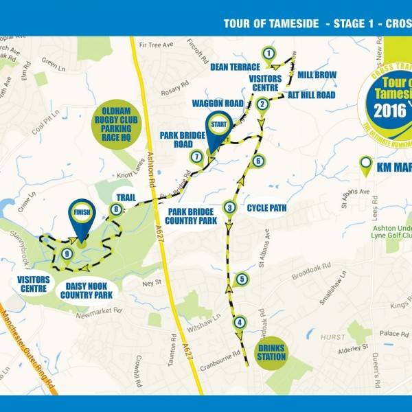 Tour of Tameside Cross Trail 10k Route Map