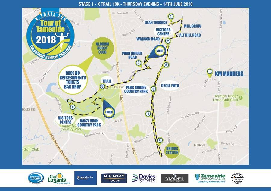 Tour of Tameside x-trail 10k route map