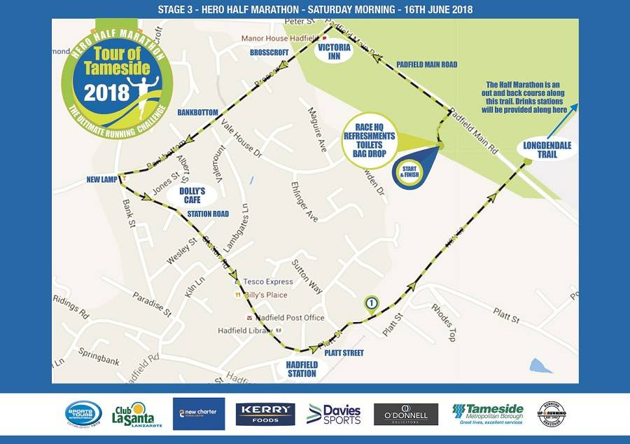 Tour of Tameside Hero Half Marathon route map
