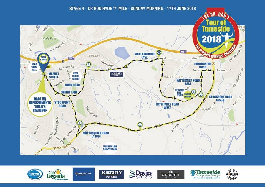 Tour of Tameside Ron Hyde 7 mile race route map